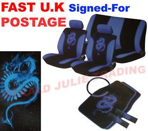 13pc Blue Dragon Car Seat Harness Cover Set Covers Mats