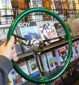 "15"" Green Metalflake Steering Wheel Rat Hot Rod Custom Vtg Old Style Gasser Bomb"