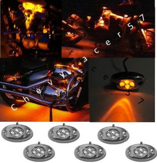 6 Orange Amber LED Chrome Modules Motorcycle Chopper Frame Neon Glow Lights Pods