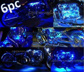 6pc Blue LED Motorcycle Chopper Frame Glow Lights Flexible Neon Strips 12V Kit