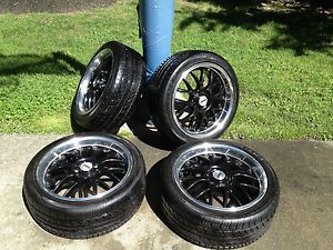 "Audi A4 ASA 18"" Black Wheels with 235 40 18 Kumho Ecsta 4X Tires"