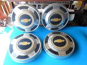 "Chevy Chevrolet GMC Truck Hub Caps Set of 4 Bowtie Dog Dish 10 3 4"" 1960 70s"
