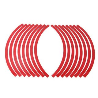 """10"""" 12"""" Reflective Car Motorcycle Rim Stripe Wheel Tape Decal Stickers Red"""