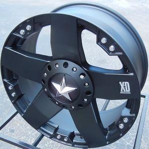 "20"" XD Rockstar Black Wheels Rims Dodge RAM 1500 Dakota Jeep Wrangler Unlimited"