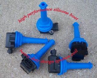 Volvo Ignition Coil Set of 5 High Discharge with Blue Silicone Insulators Boot