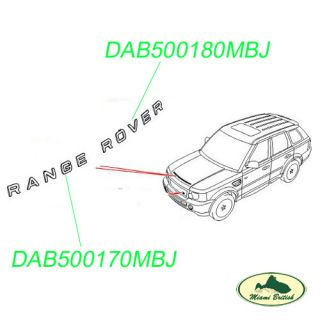 "Land Rover Hood Sticker Badge Decal ""Range Rover"" Sport 06 10 DAB500170MBJ"
