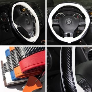 """47024 14"""" 15"""" 38cm Steering Wheel Cover White Leather Fiat Wrap BMW Audi Car SUV"""