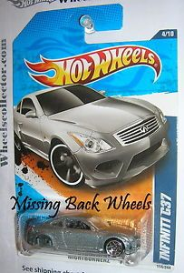 Infiniti G37 Silver 2011 Hot Wheels Missing Wheels Variation Error