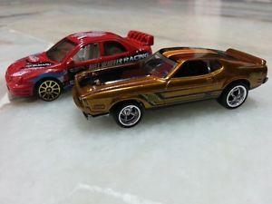 Lot of 2 Hot Wheels Super Treasure Hunt 2014 Mustang Mach 1 Subaru RARE