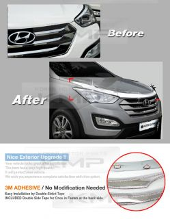 Chrome Hood Guard Garnish Molding Trim B520 Fit Hyundai 2013 Santa FE DM