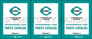 1968 Chrysler Plymouth and Dodge Master Parts Book Illustrated Catalog 68 Mopar