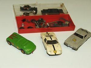 1960's Aurora HO Scale Slot Car Lot 63 Corvette Ford GT Jaguar XK140 Parts