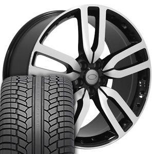 "22"" Wheels Machined Black 4 Rims 4 Tires Fit Land Range Rover LR3 LR4 HSE Sport"
