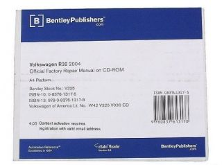 Volkswagen VW Golf R32 2004 CD ROM OE Authorized Service Repair Manual Bentley