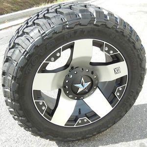 "20"" Machined XD Rockstar Wheels Toyo Opencountry M T Chevy GMC Dodge 2500 3500"