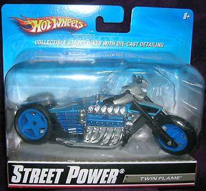 Hot Wheels 1 18 Street Power Twin Flame Blue Silver Motorcycle Die Cast