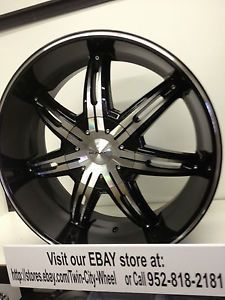 22 inch Black KMC Surge Wheels Rims Ford F150 Expedition Lincoln Navigator 5x135