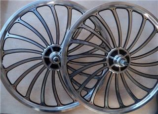"New 20"" Custom Alloy Machined Wheel Set BMX Lowrider Bicycle Mags Bike Rims Pair"
