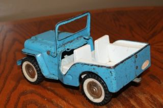 Vtg Tonka Blue Steel Jeep c1960s Convertible Toy Truck for Parts or Restoration