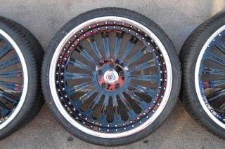 "22"" BMW 7 Series 6 Series asanti AF125 Chrome Black Staggered Wheels Rims Tires"