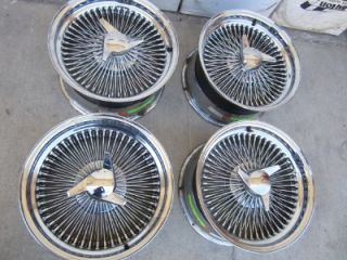 "Corvette 17"" inch Dayton 100 Spoke Wire Wheels 4 75"" 5"" Bolt Pattern Spinners"