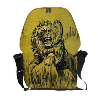 Lion Fighting Snake Messenger Bags