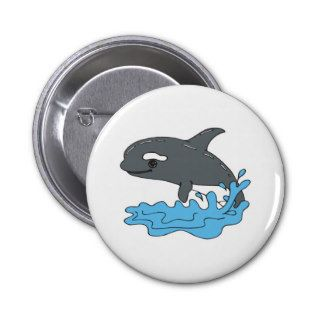 cute cartoon orca killer whale pinback button