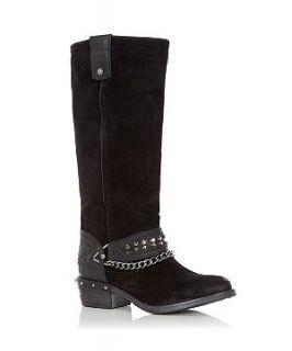Black Leather Chain Detail High Leg Boots