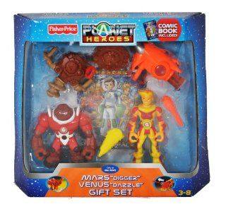 Planet Heroes Year 2007 Exclusive 2 Pack 5 Inch Tall Action Figure Gift Set   Mars Digger with Spinning Drill and Battle Shield, Venus Dazzle with Lava Launcher, Lava Missile and Shield, 2 Trading Cards Plus Bonus Comic Book: Toys & Games