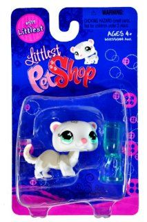 "Hasbro Year 2007 Littlest Pet Shop Single Pack ""Littlest"" Series Bobble Head Pet Figure Set #579   White FERRET with Water Bottle Feeder (#65127) Toys & Games"