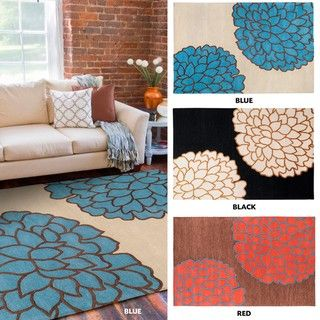 Hand tufted Contemporary /Blue Glacier New Zealand Wool Abstract Rug (2' x 3') Accent Rugs