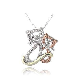 DB Designs Tri color Sterling Silver Red Diamond Accent Cat Necklace DB Designs Diamond Necklaces