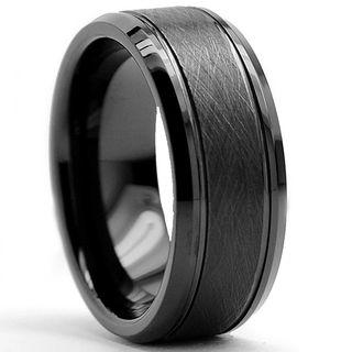 Tungsten Carbide Men's Black Brushed Textured Center Ring (8 mm) Men's Rings