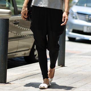 Chiffon Panel Pants, Black , One Size   SO Central