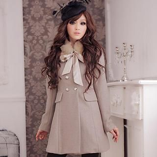 Faux Fur Collar Double Breasted Coat   JK2
