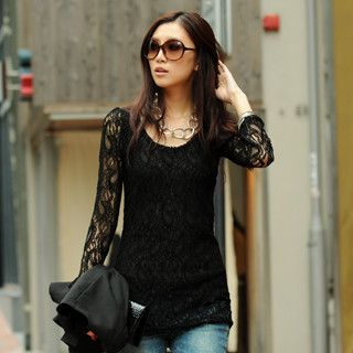 Long Sleeve Lace Top, Black , One Size   SO Central