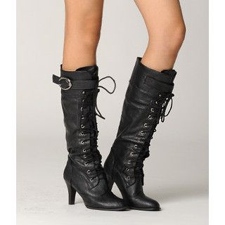 High Heel Lace Up Knee High Boots   yeswalker