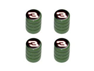 Racing Race Car Number 3   Tire Rim Valve Stem Caps   Green: Automotive