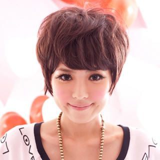 Short Full Wigs   Wavy, Coffee , One Size   Clair Beauty