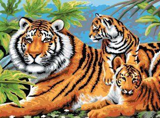 "Junior Large Paint By Number Kit 15 1/4"" X 11 1/4"" Tiger & Cubs   Furnitureanddecor"