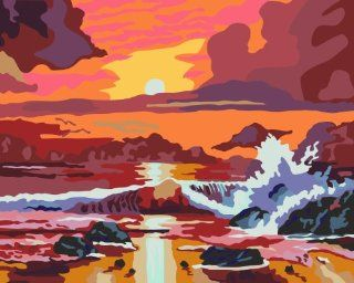 Sunset glow acrylic (2013 New DIY paint by number 16*20'' kit) Arts, Crafts & Sewing