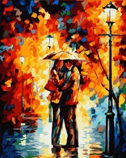 """Dart & Art Paintworks Paint By Numbers for Adults and Kids, Make Your Own """" Under the Rain of Love by Leonid Afremov """" with this DIY Painting by Numbers Kits, Dimensions 20""""x16"""", Package with 3 Painting Brushes Home & Kitchen"""