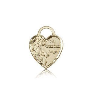 JewelsObsession's 14K Gold Guardian Angel Heart Medal: Jewels Obsession: Jewelry