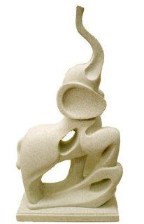 Standing Elephant Modern Statue in Stone Finish