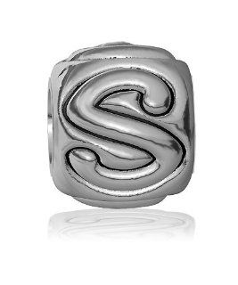 S   Bead, Single Alphabet Initial Letter for Name Bracelet, Capital, Uppercase S Charm Bracelet Bead, Embossed, Complete Alphabet and Numbers Available, Solid Sterling Silver Sziro Jewelry