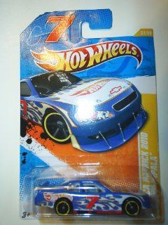 2011 Hot Wheels NASCAR DANICA PATRICK 2010 CHEVY IMPALA HW PREMIERE 37 of 50, #37 blue white flames with hot wheels logo and racing number 7: Toys & Games