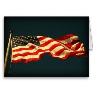 Patriotic American Flag Note Card: Office Products