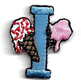 "Letter ""I""   Blue w/Ice Cream/Iron On Embroidered Applique/Children,Babies: Everything Else"