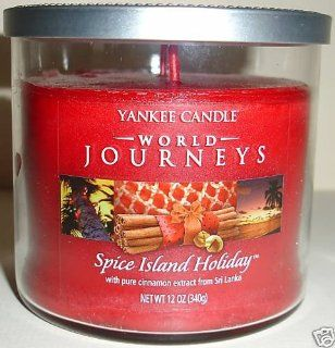 Yankee Candle 2 Wick 12 oz World Journeys Tumbler Candle SPICE ISLAND HOLIDAY with pure cinnamon extract from Sri Lanka   Retired Scent   Jar Candles