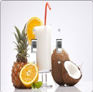 Rikki KnightTM Exotic Pina Colada Drink Design Double Toggle Light Switch Plate   Wall Plates